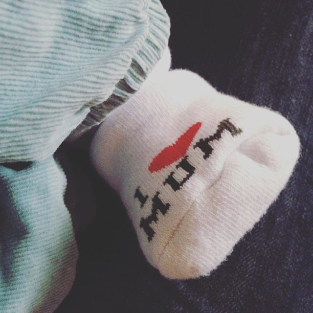 Yes he does! baby twoweeksold babyboy socks ilovemum